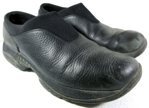 MERRELL PRIMO Moc Air Cushion Black Leather SlipOn Stretch Clog Shoes Size 9.5
