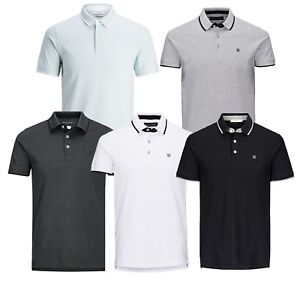 Jack-amp-Jones-Premium-Men-Cotton-Polo-Shirt-Short-Sleeve-Casual-Pique-T-shirt-Top