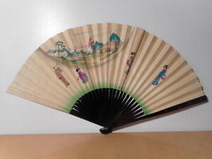 Fiable Eventail Ancien Japonais Décor Peint Personnage Japonaise Paysage Oiseau Japon 2