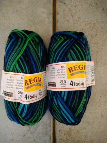 BLUE GREEN BLACK REGIA 4fadig STRIPE SOCK 75/% wool YARN 4 ply 100g