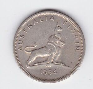 1954 Florin Coin Silver Australia Royal Visit  P-167