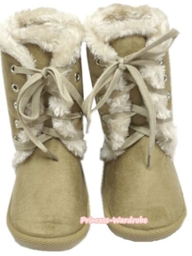 Winter Snow Adorable Casual Toddler Girl Brown khaki Suede Shoes Boots Mid Calf