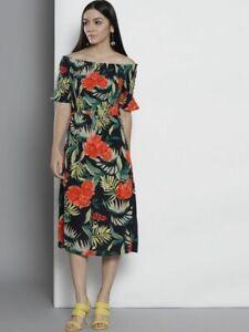 Dorothy-Perkins-Ladies-Navy-Blue-Mix-Tropical-Flower-Print-Bardot-Midi-Dress