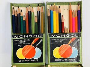 Vtg-Eberhard-Faber-Mongol-Colored-Pencils-Set-743-22-Colors-Used