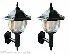 2x TRADITIONAL SOLAR POWERED LED OUTDOOR GARDEN WALL LANTERN PORCH LIGHT LAMP