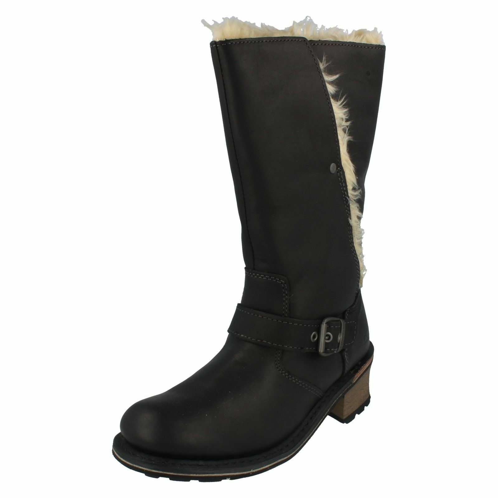 LADIES CATERPILLAR ANNA BLACK LEATHER FAUX FUR LINED CASUAL MID CALF BOOTS