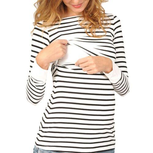 Women Nursing Maternity Long Sleeves Stripe Blouse Breastfeeding Hoodie Shirts
