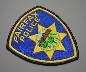 Fairfax California Police Patch ++ Dark Blue outer border Marin County CA HTF