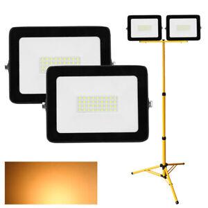 30W LED Fluter Flutlicht Garten Warm//Weiß//RGB Baustrahler Scheinwerfer Stativ DE
