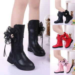 CHILDREN KIDS WARM ANKLE BOOTS GIRLS LACE BOWNOT PRINCESS BOOTS SHOES SIZE UK
