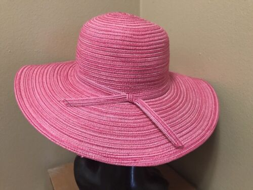 Ladies Variegated Color Sewn Toyo Straw Wide Brim Sun HAT blue jean natural pink