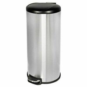 Room-Essentials-Step-Open-Trash-Can-Waste-Bin-30L-Silver-Black