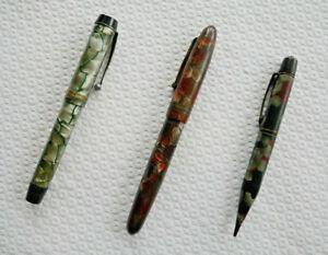 ANCIEN-lot-3-pieces-stylo-plume-stylo-bille-Stylox-porte-mine-bakelite
