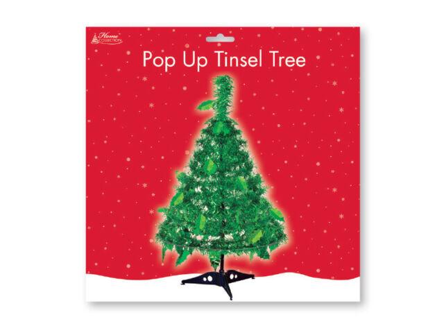 45cm Pop Up Mini Christmas Tree Table Top Tinsel Desktop