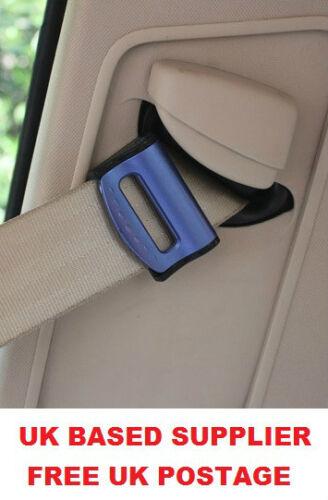 Bleu FIAT SEAT réglable clip ceinture sécurité bouchon Voyage Voiture 2 Pcs