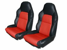 CHEVY CORVETTE C4 STANDARD 1994-1996 BLACK/RED S.LEATHER CUSTOM FIT SEAT COVER
