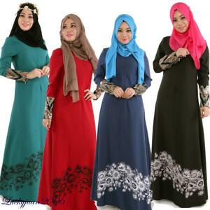 eca2ba72101 Muslim Kaftan Abaya Islamic Women Long Sleeve Vintage Cocktail Maxi ...
