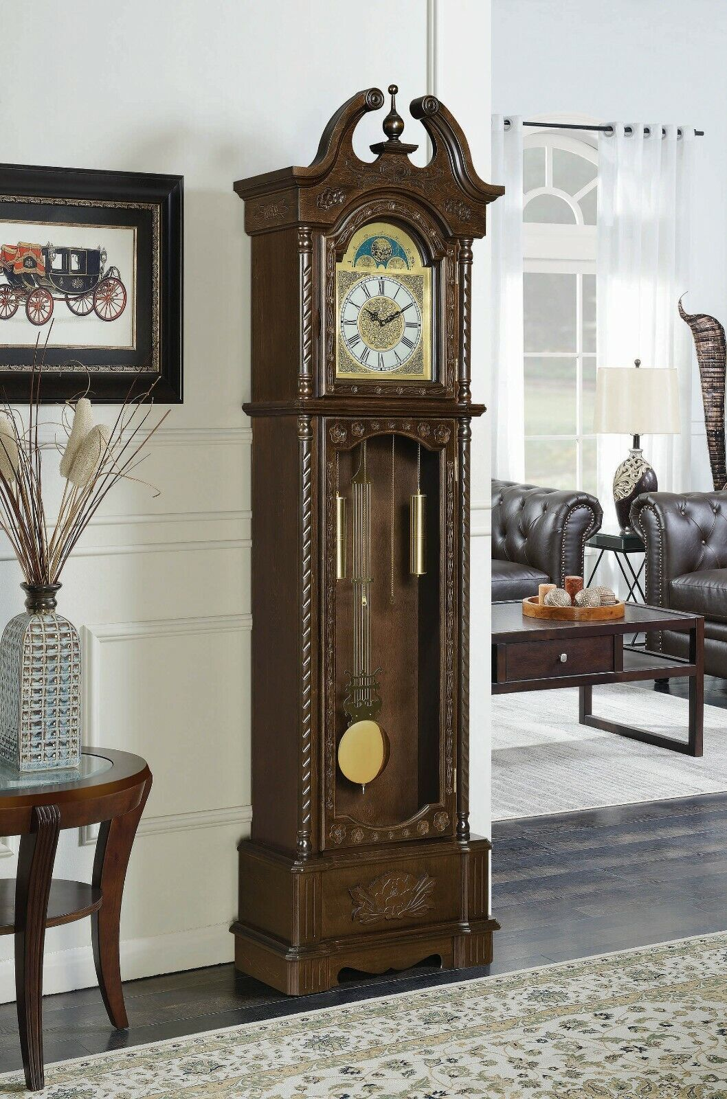 Traditional Grandfather Clock Vintage Modern Pendulum Chimes Brown Hardwood  for sale online | eBay