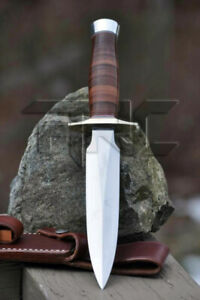CUSTOM-HANDMADE-D2-TOOL-STEEL-HUNTING-DAGGER-BOWIE-KNIFE-STACKED-LEATHER-HANDLE