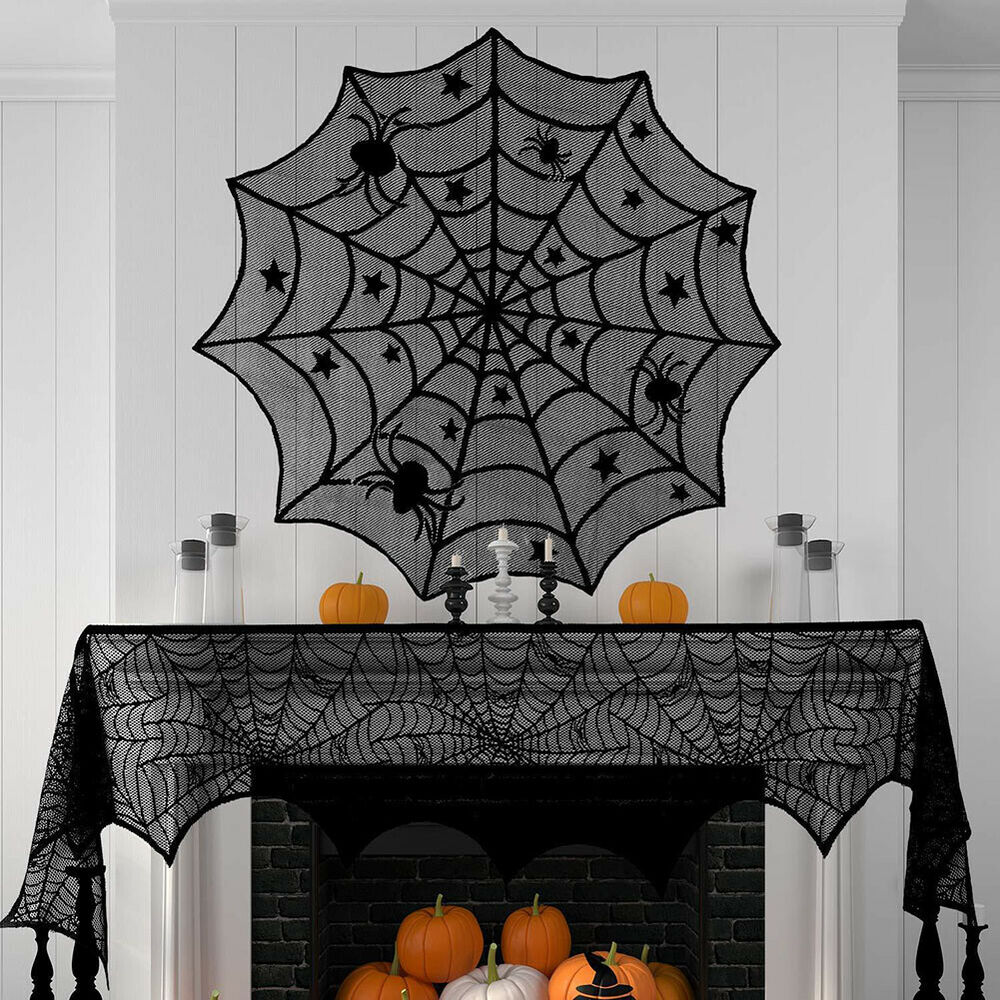 IG_ BU_ Funny Halloween Stove Fireplace Cloth Spider Web Cover Party Home Table Holiday & Seasonal Décor