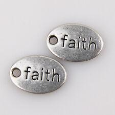 "15Pcs Wholesale Zinc Alloy ""Faith"" Charms Pendants 14x10mm Bead109"
