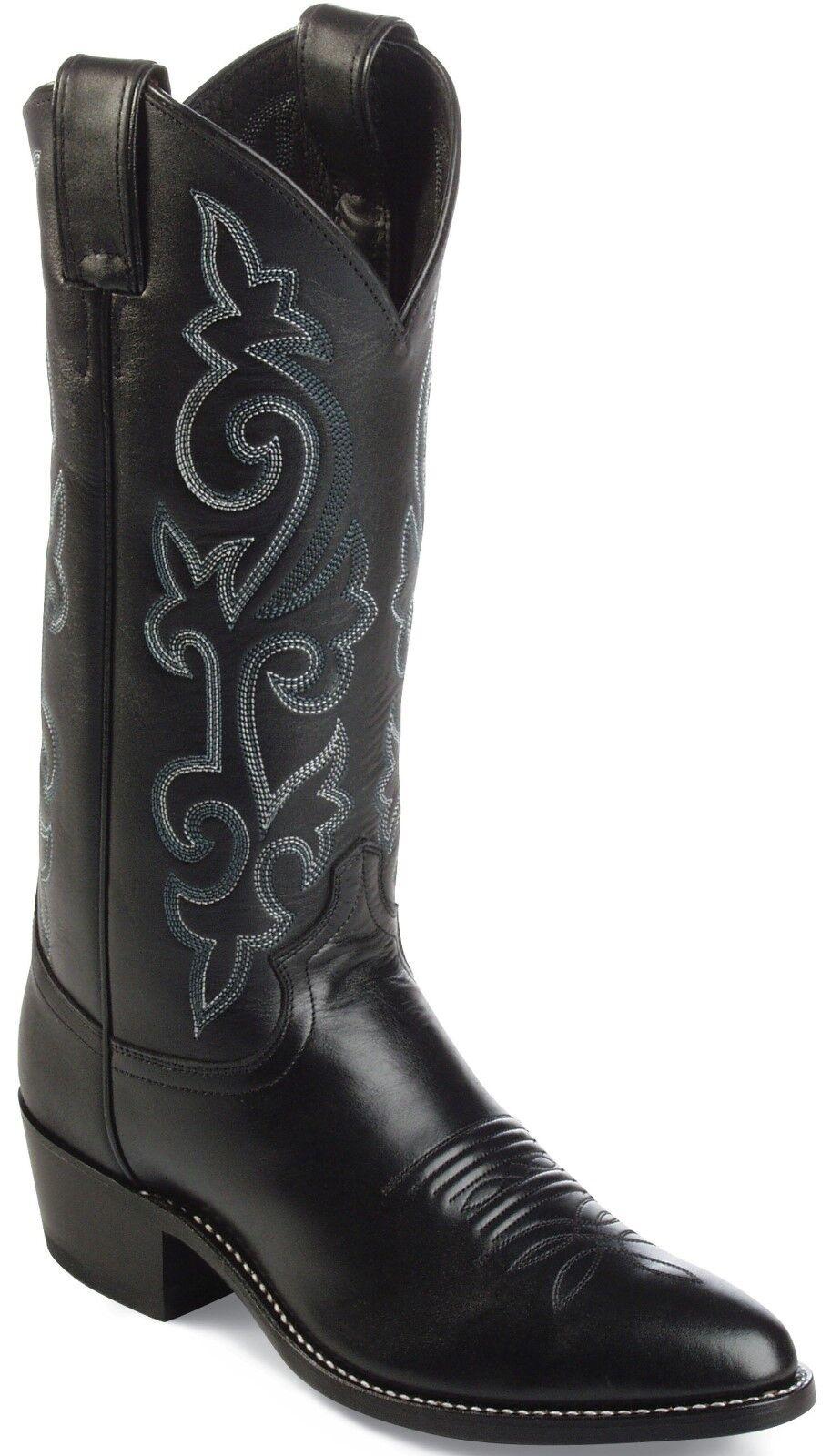 Justin Classic Men's Buck Black Western Cowboy Boot R Toe - 1409