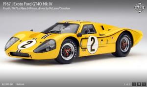 Exoto'67 Ford GT40 Mk IV 24H Lemans McLaren Donohue RLG18057, Nuevo En Caja 1 18 ret.