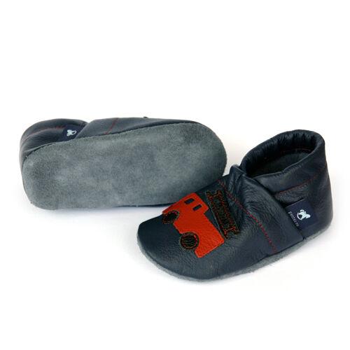 Lauflernschuhe Lederpuschen Blau mit Feuerwehr Pantau Leder Krabbelschuhe