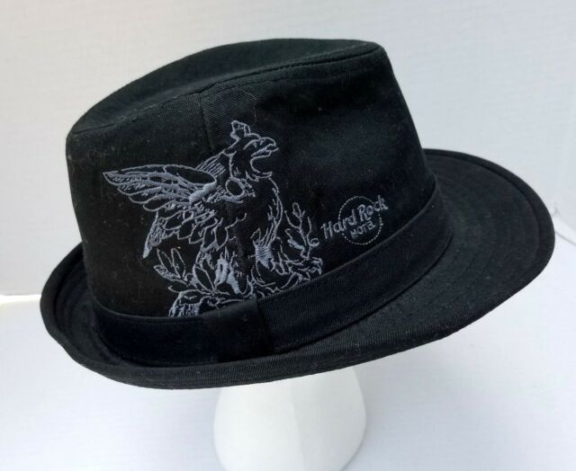 Hard Rock Hotel Chicago Fedora Hat Embroidered Stitch Black Authentic All  is One 5780b89bc2a