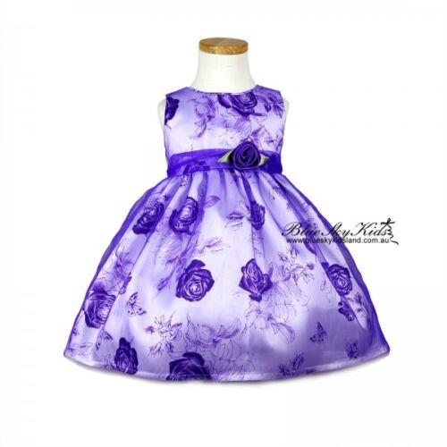 6Yr Kids Girls Cotton//Semi Sheer Dress Orange//Purple Party Dress Size Newborn