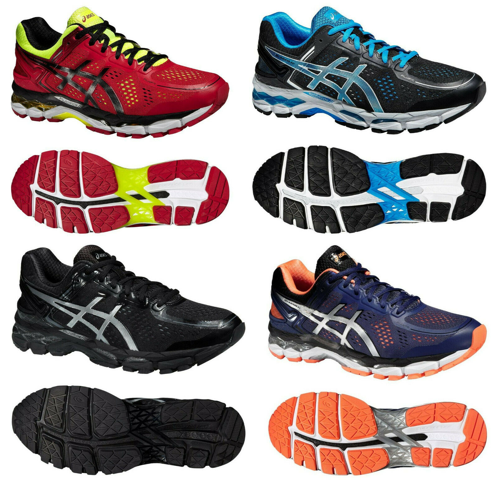 Asics GEL-KAYANO 22 Herren Laufschuhe running shoes rot gelb schwarz blau orange