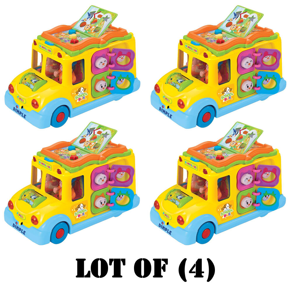 Lot of (4) Dimple DC5008 Fun Learning Activity School Bus w  Lights & Sounds