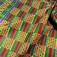 Beautiful Multicolor African Tribal Kente Print Cloth Cotton Fabric Wax Dyed