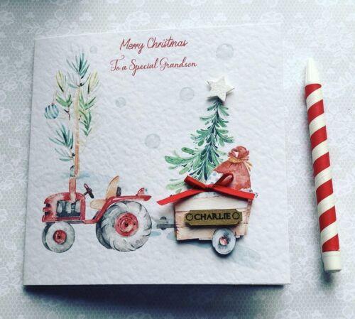 Christmas Tractor Boys Christmas Card Handmade /& Personalised Grandson// Son