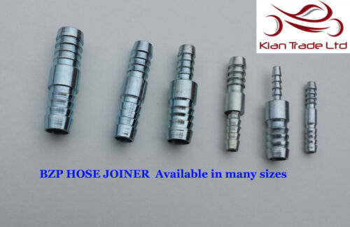10mm-10-12mm STEEL HOSE JOINER REDUCER BARBED PIPE CONNECTOR MENDERS WATER FUEL