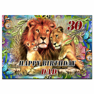 c192; Large Personalised Birthday card; Custom made for any name; Lions pride