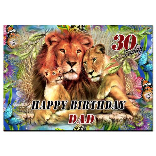 C066; large personnalisé de carte d/'anniversaire; faites sur mesure pour tout nom; lions pride