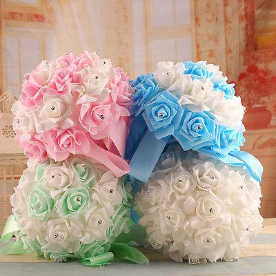 Crystal Bridal Wedding Bouquet Silk Flowers Bridesmaid Foam Brooch hand held