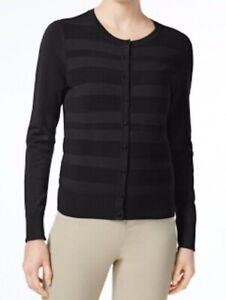 NEW-Charter-Club-Textured-Stripe-Buttoned-Cardigan-Deep-Black-Sz-S-L-or-XL-S36
