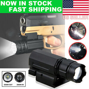 Tactical Zoomable Pistol Gun Picatinny Flashlight Handgun Hunting Torch Light US