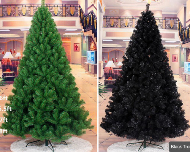 Black Christmas Tree.Christmas Tree Artificial Festive Xmas Green Black With Metal Stand 5ft 6ft 7ft