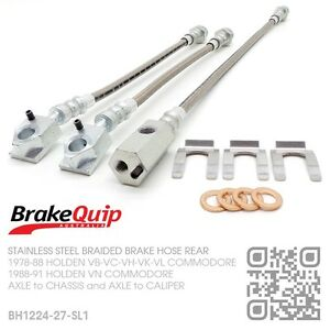 BRAIDED-STAINLESS-REAR-DISC-BRAKE-HOSES-HOLDEN-VL-COMMODORE-TURBO-BT1-SILVER