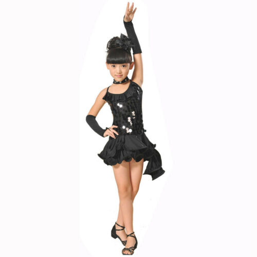 Toddler Children Girls Latin Ballet Dress Party Dancewear Ballroom Dance Costume