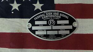 Federal Sign and Signal Air Raid / Civil Defense Siren Oval ID Plate