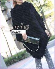 Ladys'fur cape amice poncho rabbit knit on yarn black