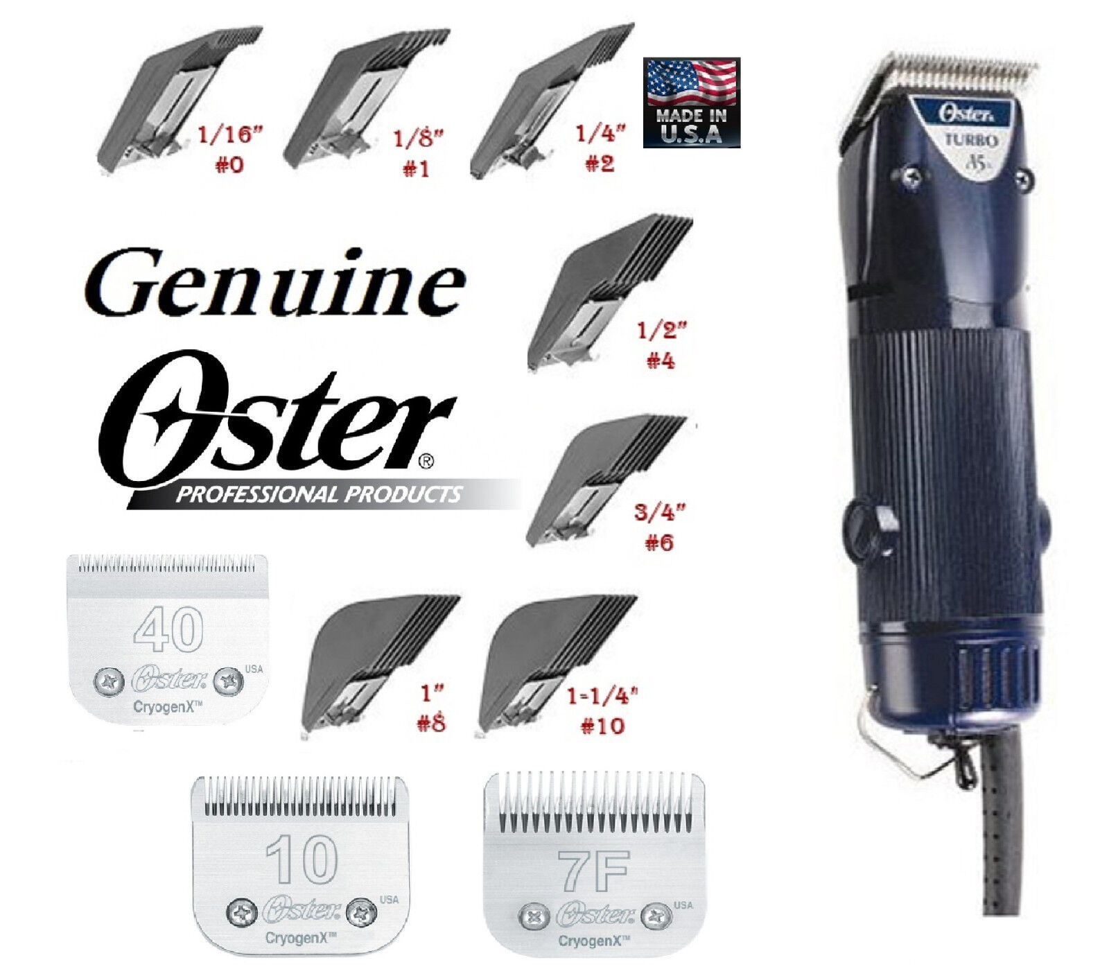 Oster A5 Turbo Tosatrice & 10 40 7F Lame & 7 PC Snap On Guida Universale Pettine