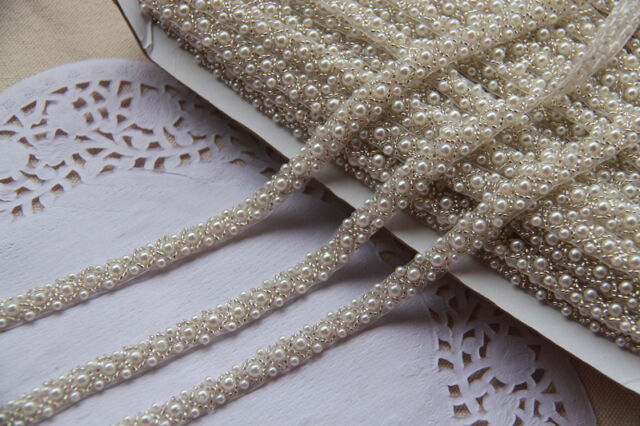 Beaded Trim-NEW bead vintage Ribbon ,ivory beaded lace ,sewing beaded trim -0001