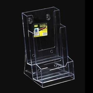 Clear tri fold brochure business card holder desk stand pamphlet image is loading clear tri fold brochure business card holder desk reheart Images