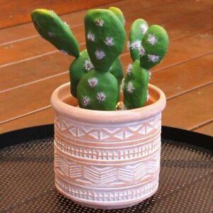 White Tribal Terracotta Pot Planter Indoor Outdoor Garden Home Decor