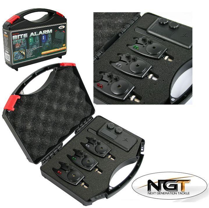 3 x ngt supreme noir sans fil pêche à la voiturepe morsure alarmes + récepteur 200M gamme
